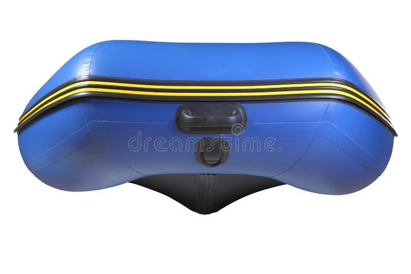 Beugen Sie aufblasbares, blaues Gummiboot mit dem Kiel, lokalisiert auf Weiß. lizenzfreies stockfoto