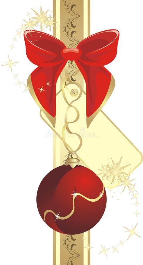 Beugen Sie mit Aufkleber und Weihnachtskugel auf dem Farbband lizenzfreie abbildung
