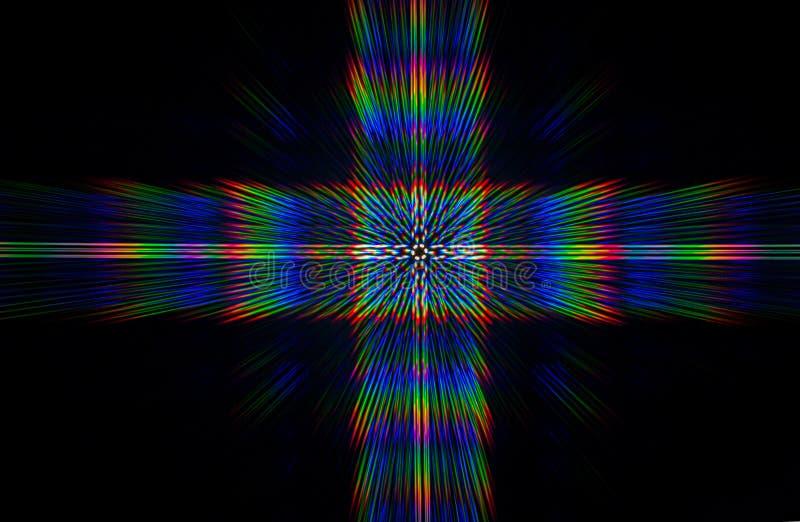Beugung des Lichtes von der LED-Reihe stockbild