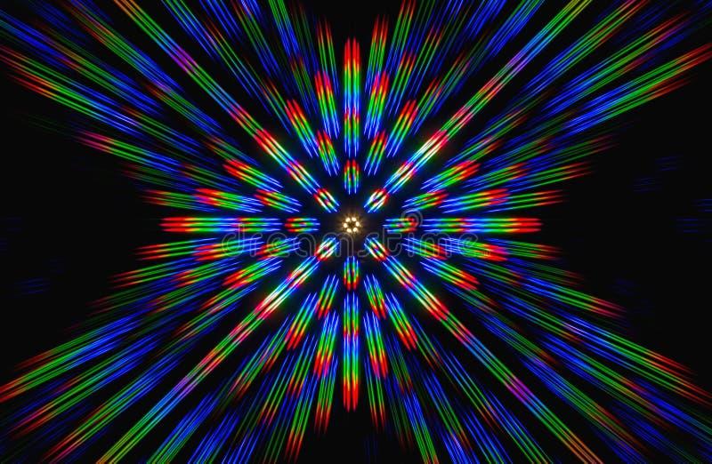 Beugung des Lichtes von der LED-Reihe stockfoto