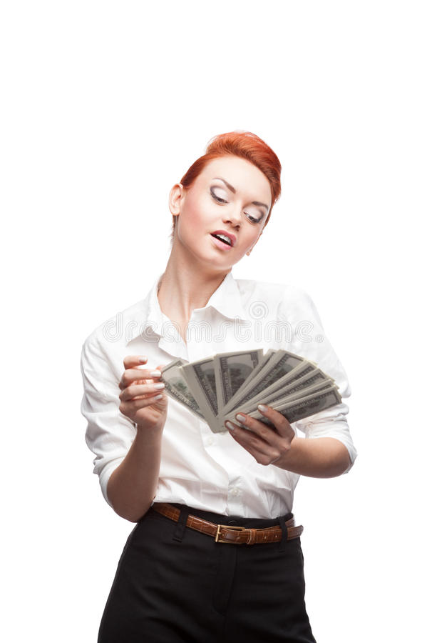 Beundra affärskvinna som räknar pengar arkivfoton