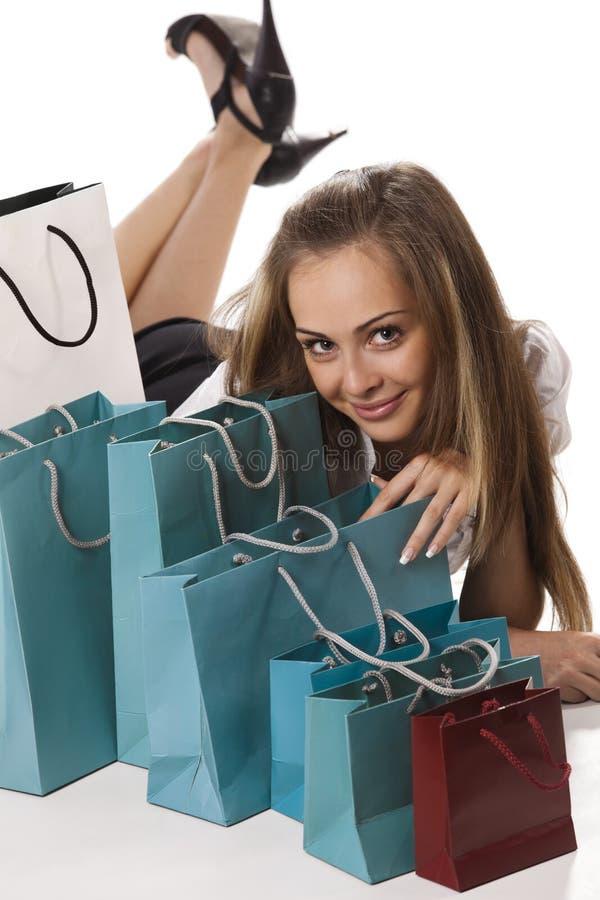 beundra henne shoppingkvinna royaltyfria foton