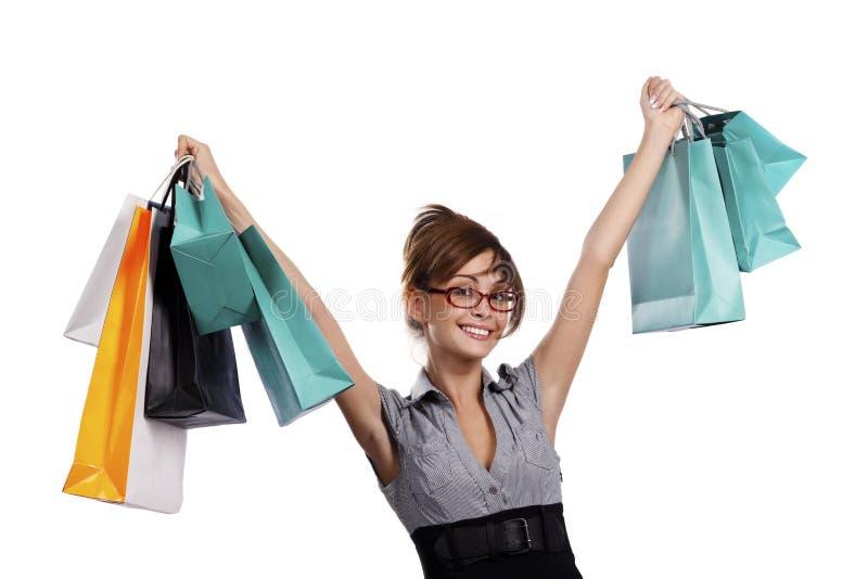 beundra henne shoppingkvinnabarn royaltyfria bilder