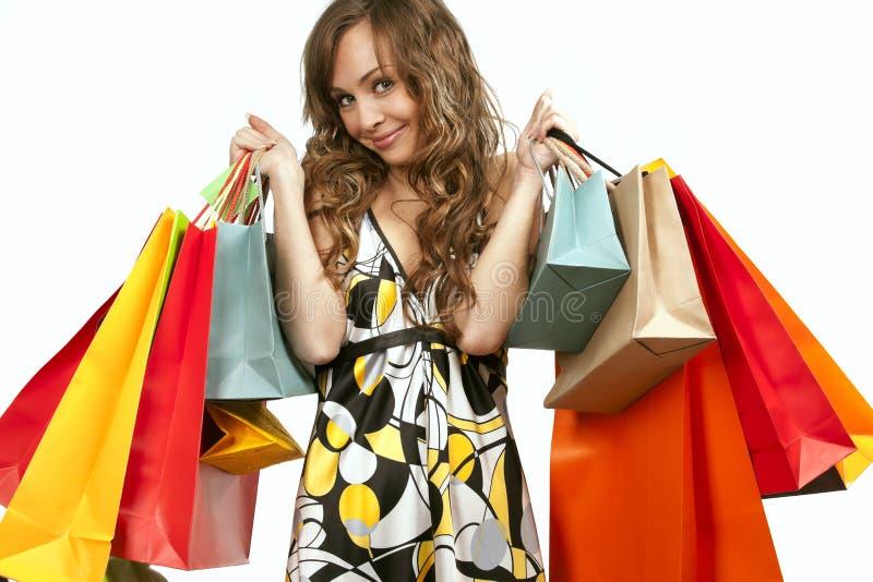 beundra henne shoppingkvinnabarn royaltyfri foto