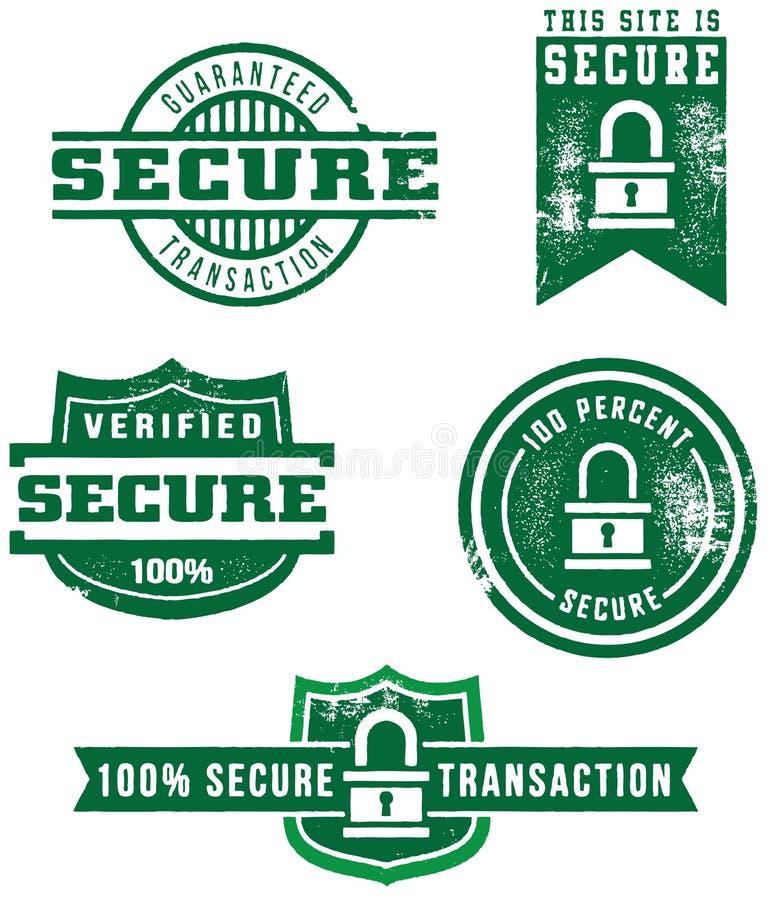 Beunruhigte Web-sichere Abzeichen stock abbildung