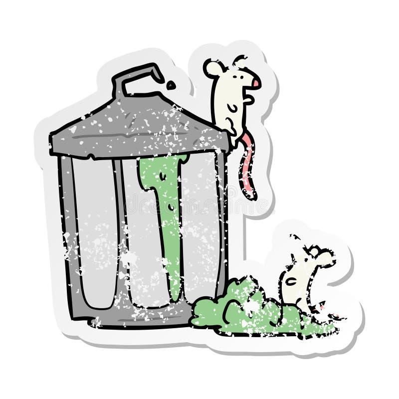 beunruhigter Aufkleber eines Karikaturm?lleimers stock abbildung