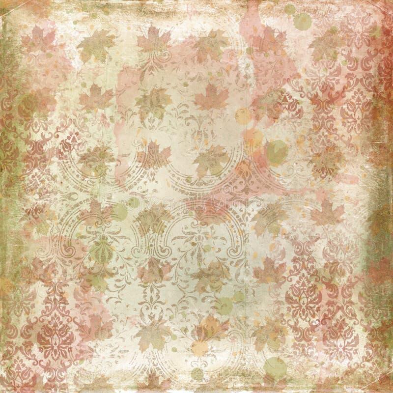 Beunruhigter Autumn Background Paper - Weinlese-Blatt-und Damast-Muster - Aquarell-Beschaffenheiten - Einklebebuch-Papier stock abbildung