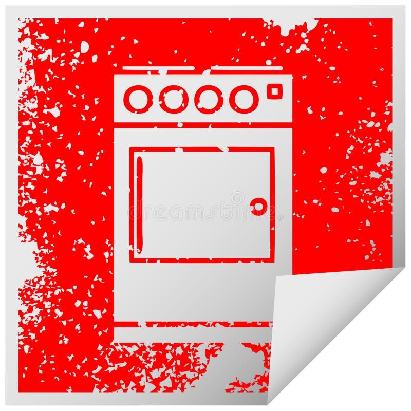 beunruhigter quadratischer Schalenaufklebersymbolofen und -kocher lizenzfreie abbildung