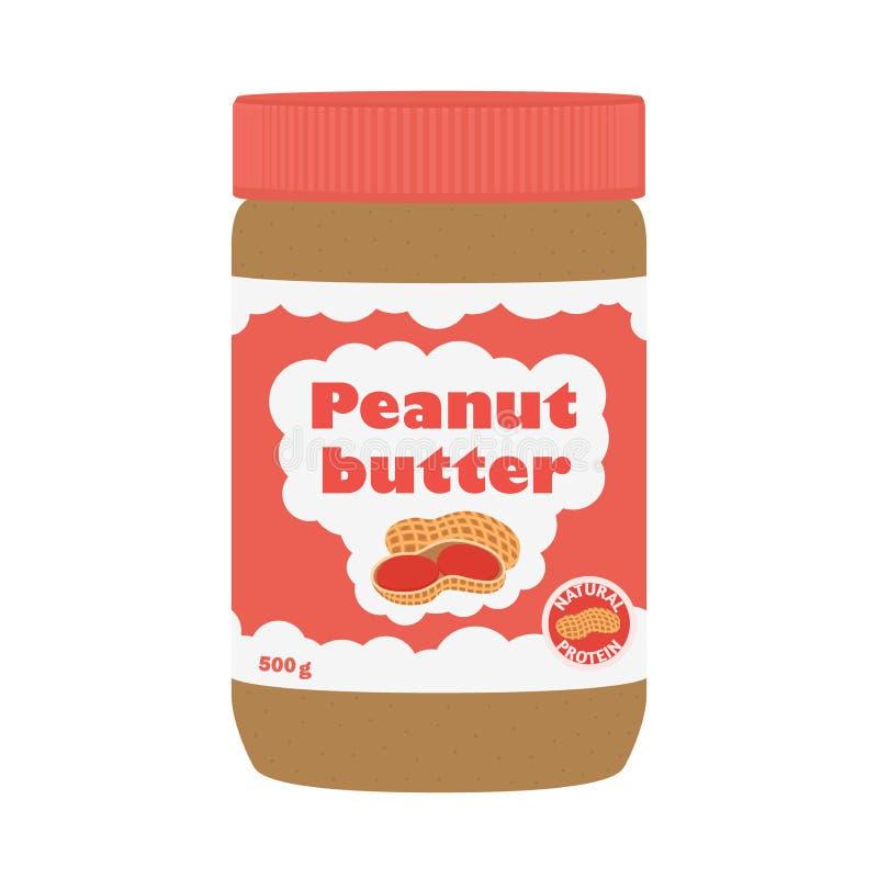 Beurre d'arachide avec des arachides Nutrition saine pour le style plat de petit déjeuner illustration libre de droits