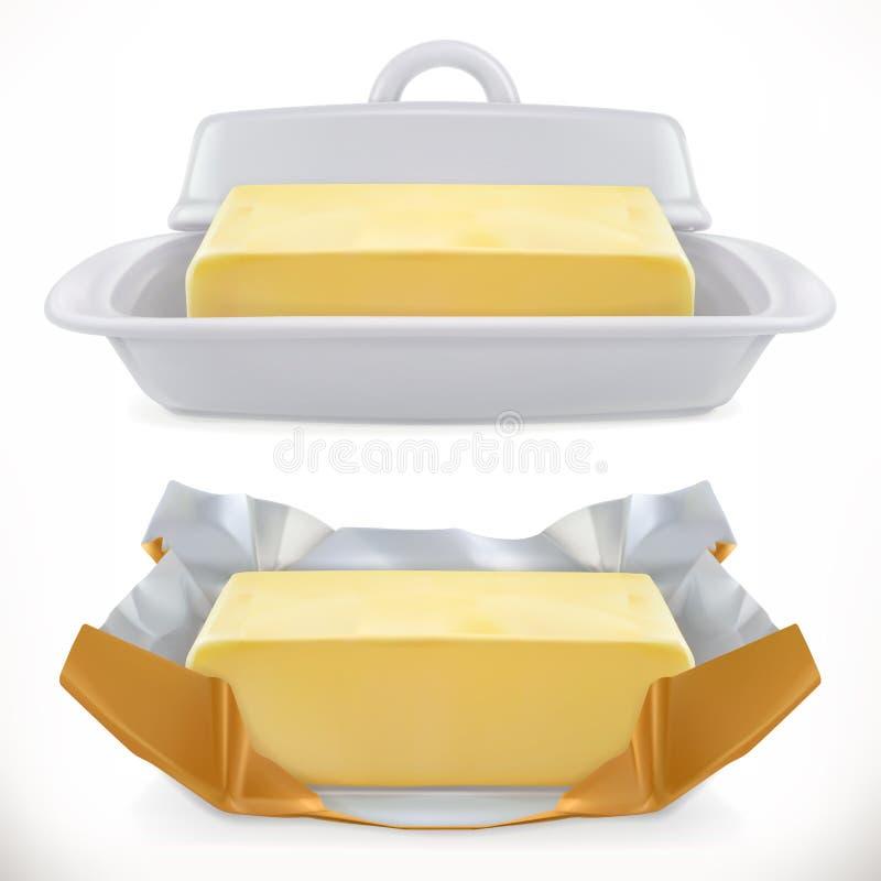 Beurre icône réaliste du vecteur 3d illustration de vecteur