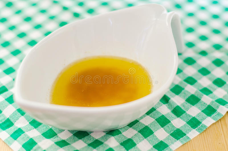Beurre noisette sauce. Brown butter sauce with a pinch of lemon juice stock image