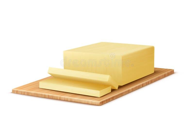 Beurre réaliste du vecteur 3d sur le plateau en bois illustration libre de droits
