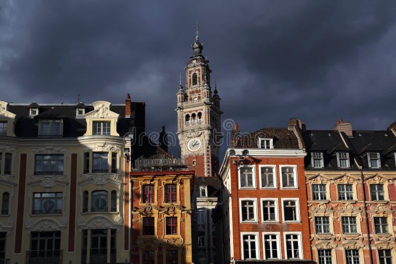 Beurs de bouwklokketoren van Lille, Frankrijk royalty-vrije stock foto's