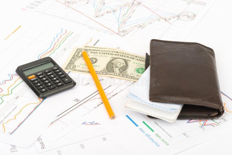 Beurs met calculator royalty-vrije stock foto's