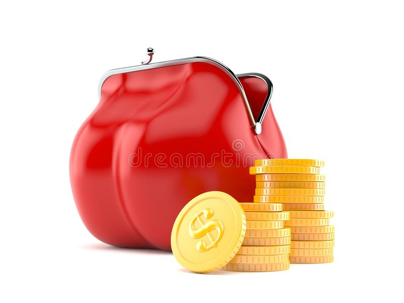 Beurs met stapel muntstukken royalty-vrije illustratie