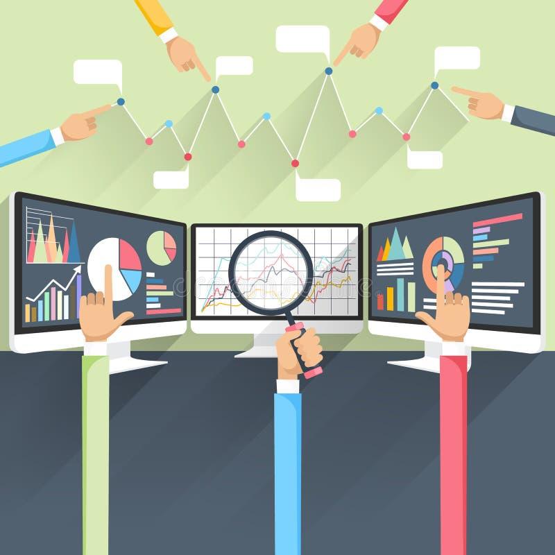 Beurstarieven op monitors stock illustratie