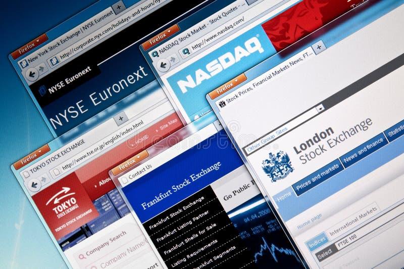 Beurswebsites stock fotografie