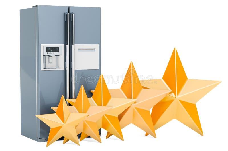 Beurteilung der Kreditwürdigkeit eines Kunden des Kühlschranks mit nebeneinander Türsystem, Konzept Wiedergabe 3d vektor abbildung
