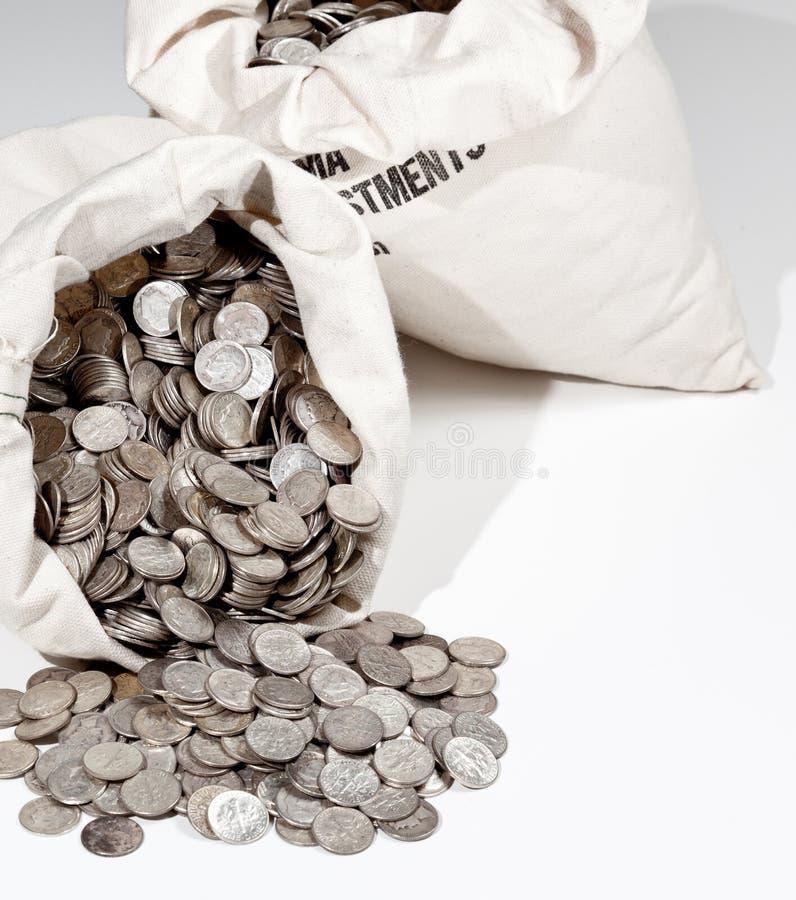 Beutel der Silbermünzen stockfoto