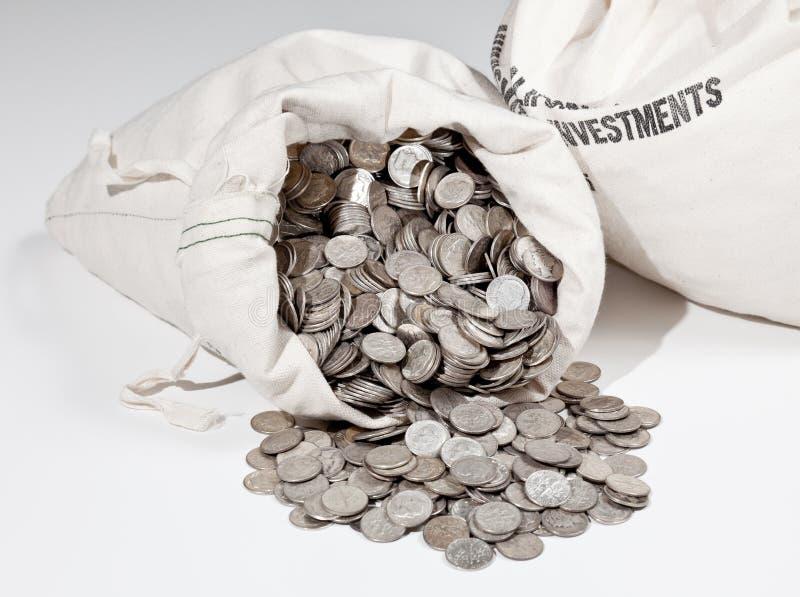 Beutel der Silbermünzen stockbild