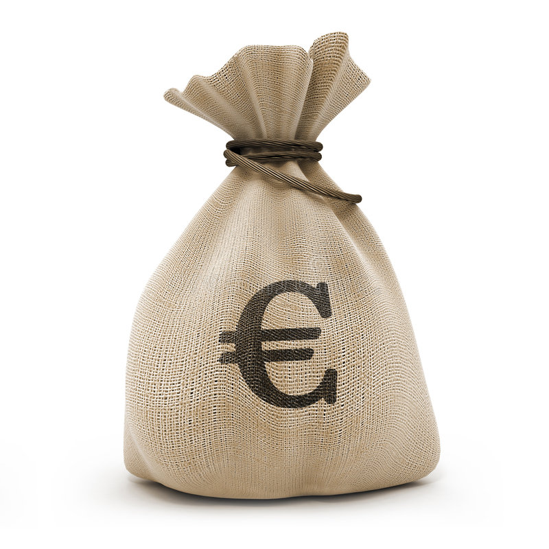 Beutel mit Geldeuro lizenzfreies stockfoto
