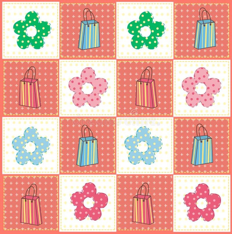 Beutel und Blumenmuster vektor abbildung