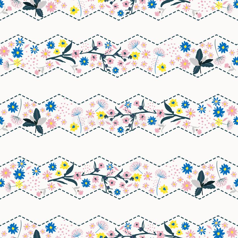 Beutiful gentle zig zag stripe Liberty flower seamless pattern ,. Elegant gentle trendy in small-scale flower. Floral meadow background for textile, fabric stock illustration