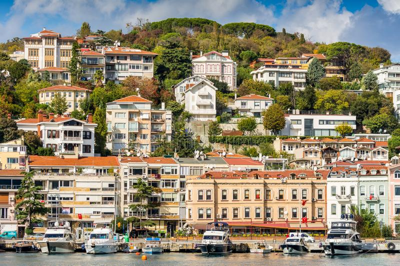 Beutiful modern buildings built on the hills along the Bosphorus strait in Istanbul, Turkey royalty free stock photo