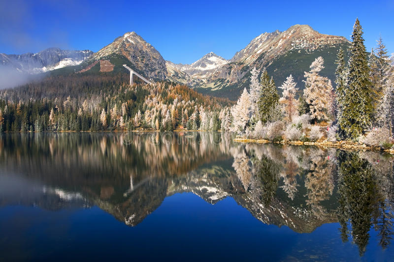 Beutiful mountain lake with reflection stock photo