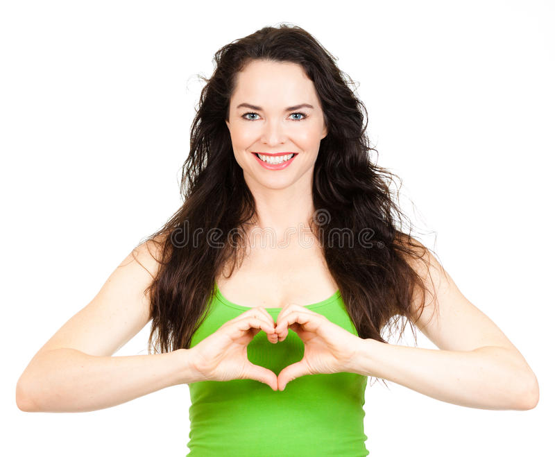 Beutiful Woman Symboling Love Heart Royalty Free Stock Photography