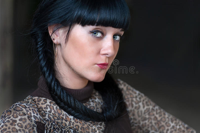 Beutyful women with black hair stock image