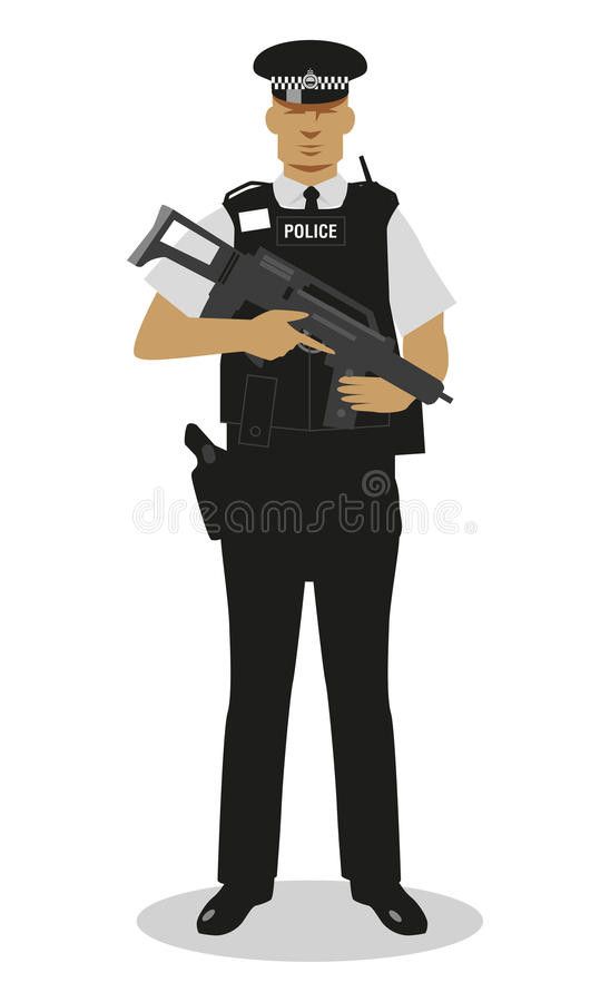 Beväpnad brittisk polis - stock illustrationer