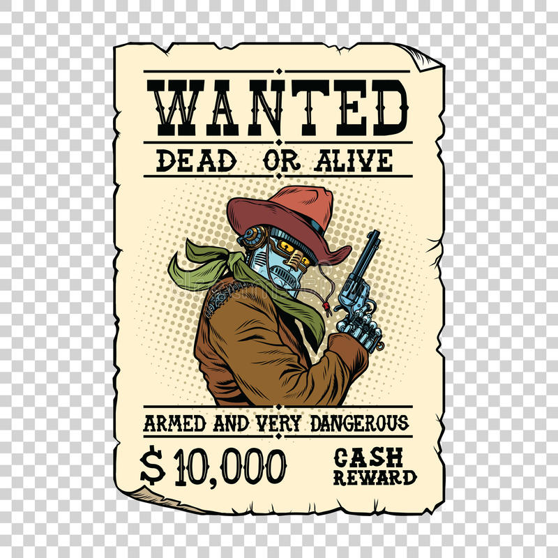 Beväpnad robotcowboy Steampunk retro annons vektor illustrationer