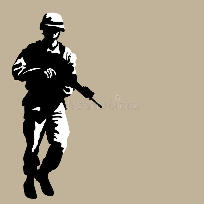 Beväpnad soldat vektor illustrationer