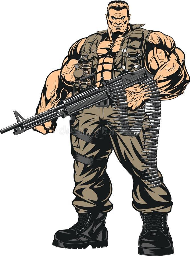 Beväpnad stark soldat royaltyfri illustrationer