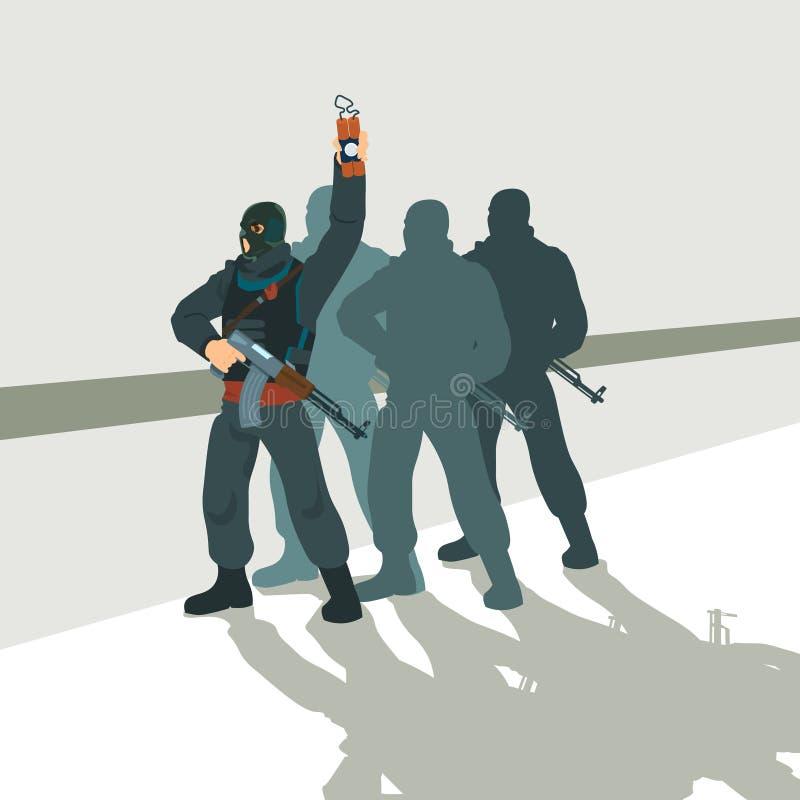 Beväpnad terrorist Group Terrorism Concept vektor illustrationer