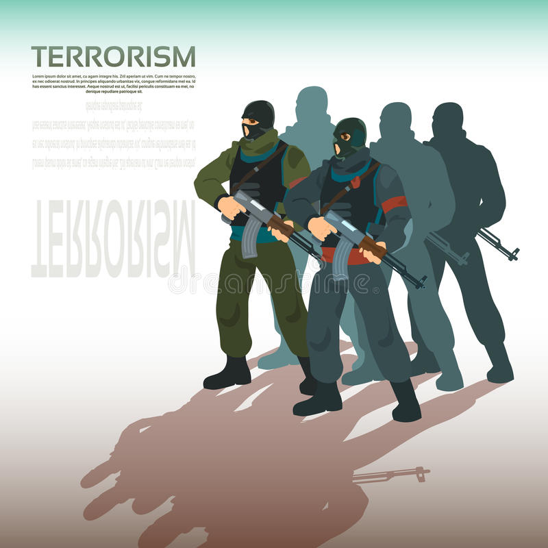 Beväpnad terrorist Group Terrorism Concept royaltyfri illustrationer