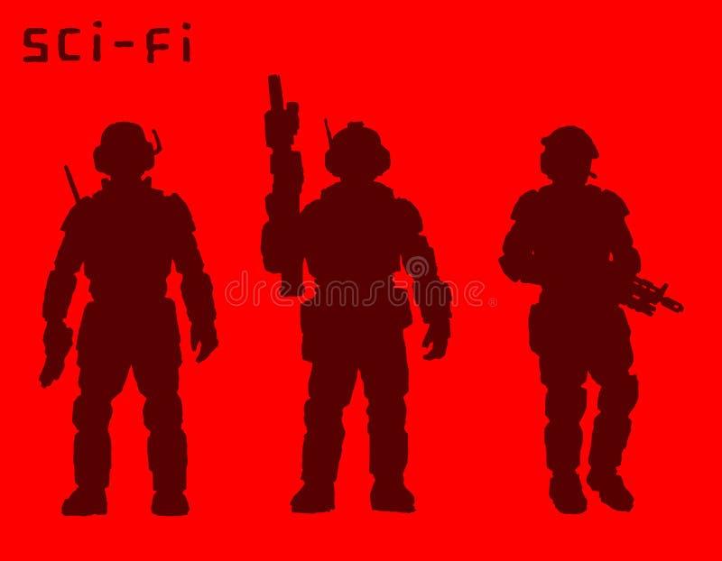Beväpnade soldater av framtiden också vektor för coreldrawillustration vektor illustrationer