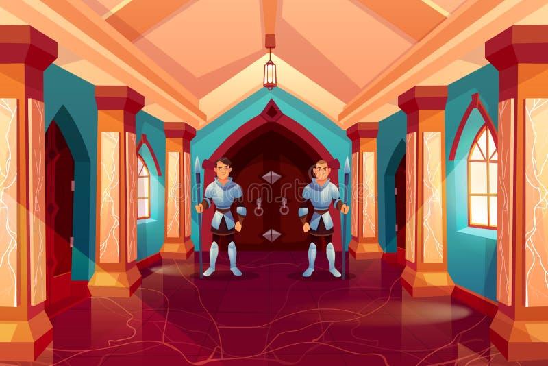 Beväpnade vakter i riddareharneskställning på den falska dörren royaltyfri illustrationer