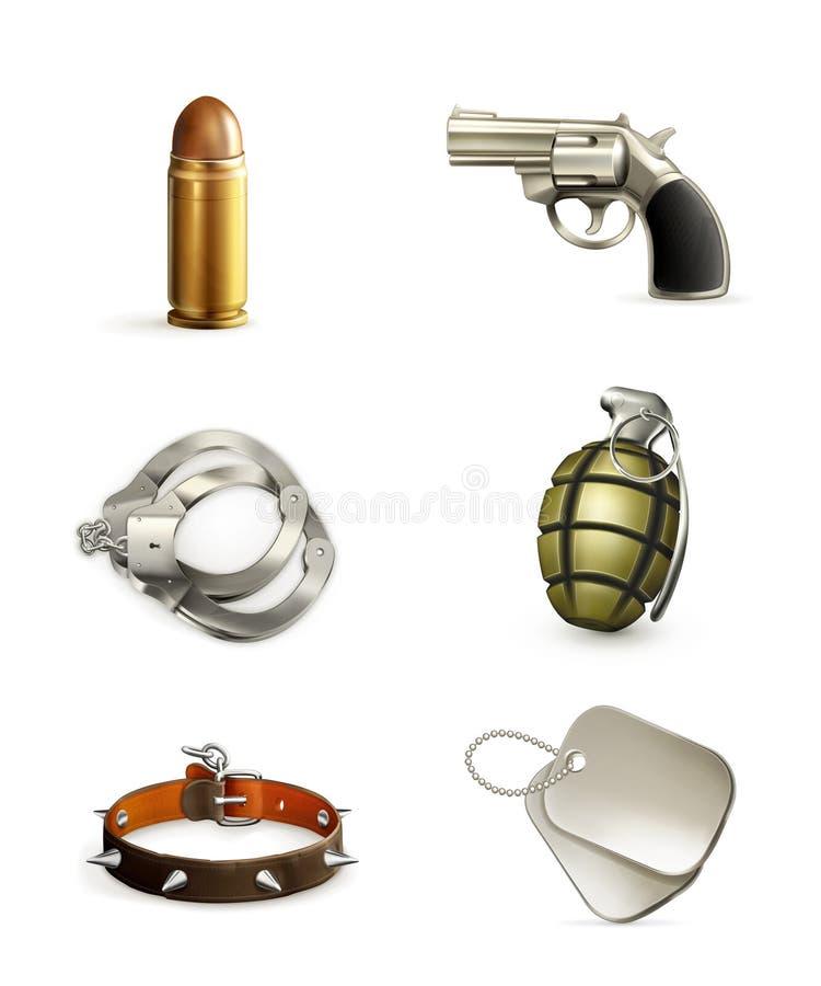Beväpnar symbolsuppsättningen stock illustrationer