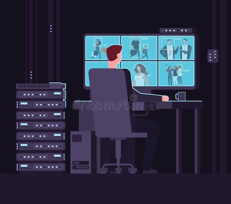 Bevakningövervakningrum Man den hållande ögonen på bevakningkameran på bildskärm i mörkt kontrollrum Säkerhetstjänst och vektor illustrationer