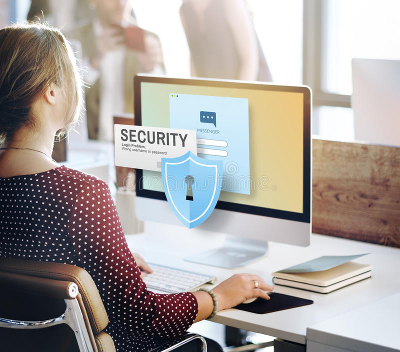 Bevakning Concep för nätverk för data för lösenord för säkerhetssystemtillträde arkivbild