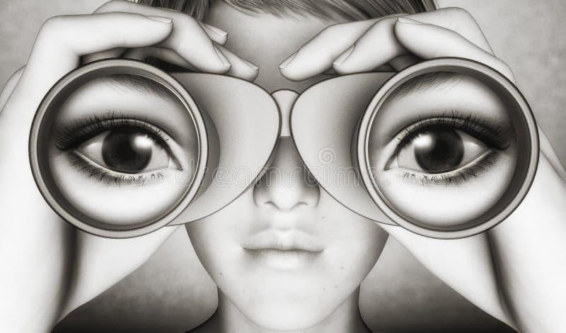 Bevakning med kikare stock illustrationer