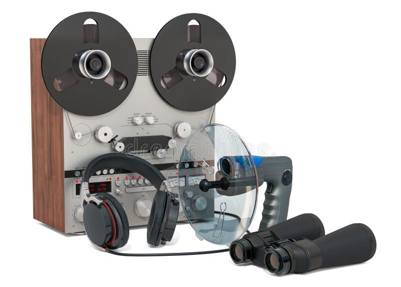 Bevakning och avlyssnabegrepp Ställ in av att spionera utrustning, tolkningen 3D royaltyfri illustrationer
