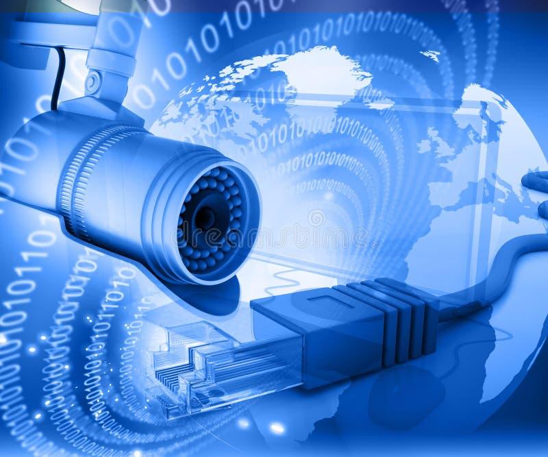 Bevakningkamera med den digitala världen royaltyfri fotografi