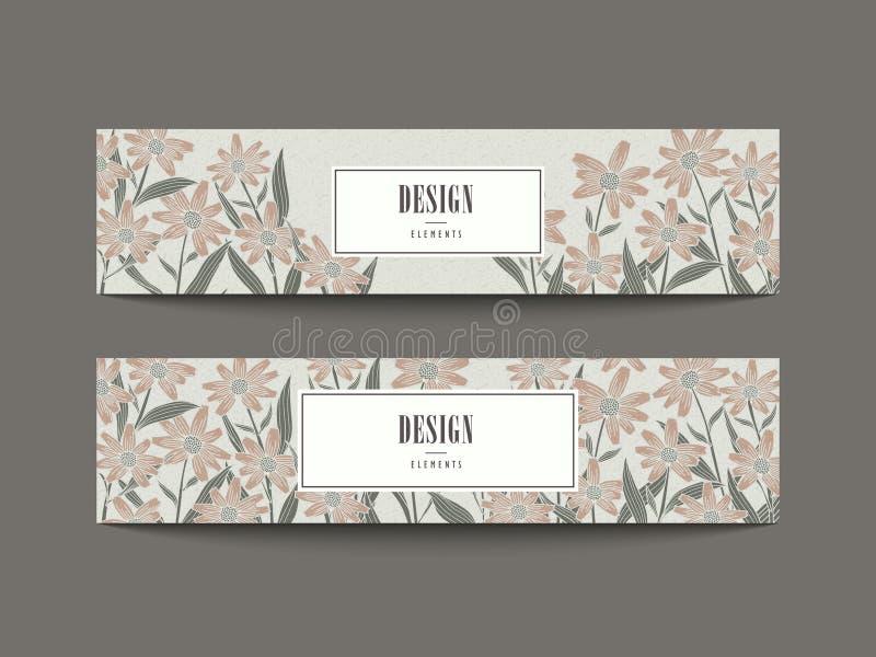 Bevallig bloemenbanner vastgesteld ontwerp stock illustratie