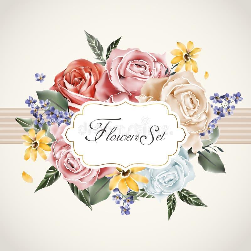 Bevallig bloemenkaartmalplaatje stock illustratie