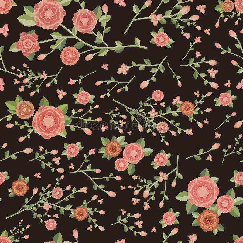 Bevallig naadloos bloemenpatroon stock illustratie