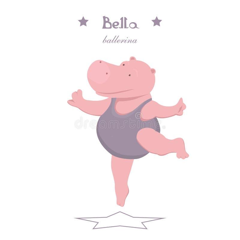 Bevallig weinig hippoballerina die op een witte achtergrond dansen stock illustratie