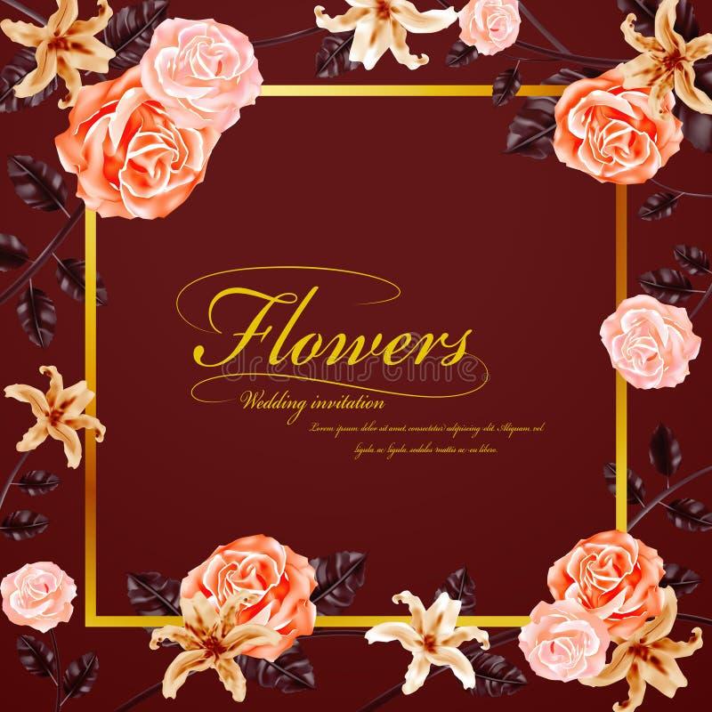 Bevallige bloemenhuwelijksuitnodiging vector illustratie